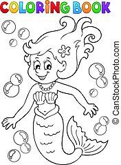 Coloring book mermaid
