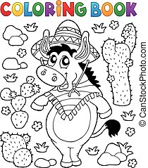 Coloring book Mexican donkey 1 - eps10 vector illustration.