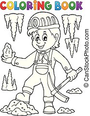 Coloring book miner theme image 1