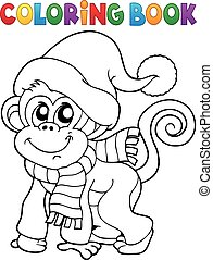 Coloring book monkey in winter clothes