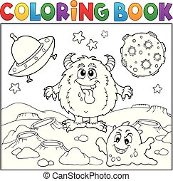 Coloring book monsters in space theme 1