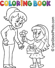 Coloring book Mothers Day theme 1 - eps10 vector...