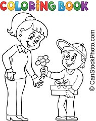 Coloring book Mothers Day theme 2 - eps10 vector...