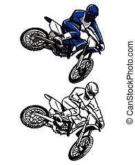Coloring book moto cross character