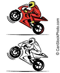 Coloring book moto race character