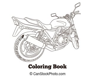 Coloring book motorbike vector illustration