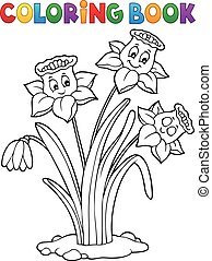 Coloring book narcissus flower image 1 - eps10 vector ...