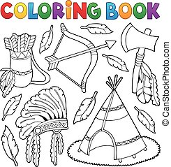 Coloring book Native American theme 1