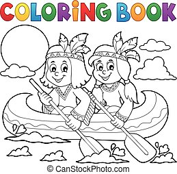 Coloring book Native Americans in boat - eps10 vector...