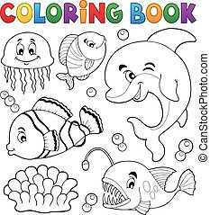 Coloring book ocean fauna topic 1 - eps10 vector...