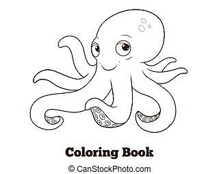 Coloring book octopus cartoon educational