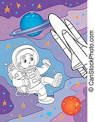 Coloring Book Of Astronaut And Spaceship - Vector...