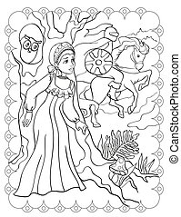 Coloring Book Of Beautiful Girl And Knight On Horse