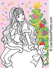 Coloring Book Of Beautiful Girl Sitting On Bag