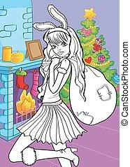 Coloring Book Of Beautiful Girl With Santa Bag