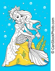 Coloring Book Of Beauty Mermaid Sitting On Stone
