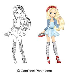 Coloring Book Of Blonde Girl - Coloring book vector...