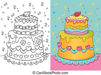 Vector illustration of cake with decoration for coloring page for kids