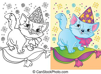 Coloring Book Of Cat In Christmas Cap