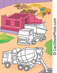 Coloring Book Of Cement Mixer, Truck And Excavator - Vector...