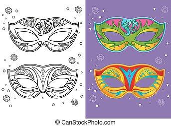 Coloring Book Of Christmas Carnival Masks