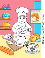 Coloring Book Of Cook With Cakes And Pastries