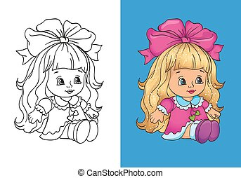 Coloring Book Of Cute Dall In Pink Dress