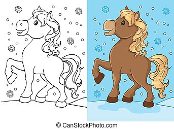 Coloring Book Of Cute Horse With Golden Mane