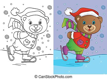 Coloring Book Of Cute Teddy Bear Skates - Vector...