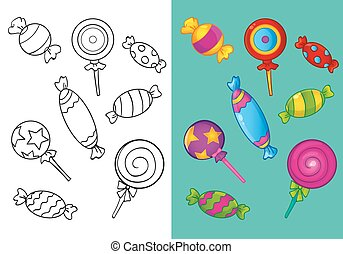 Coloring Book Of Different Sweet Candies