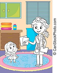 Coloring Book Of Doctor Showing X-ray Pictures