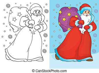 Coloring Book Of Father Frost Walking With Bag - Vector...