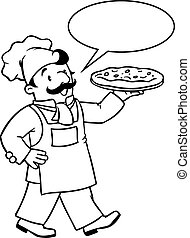 Coloring book of funny baker or chef with pizza
