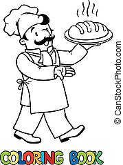 Coloring book of funny cook or baker with bread