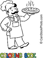 Coloring book of funny cook or chef  with pizza