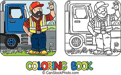 Coloring book of funny driver or worker