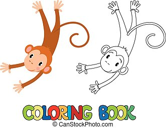 Coloring book of funny monkey