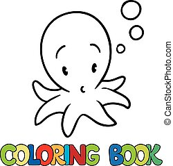 Coloring book of funny octopus