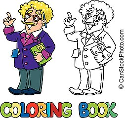 Coloring book of funny scientist or inventor