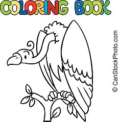 Coloring book of funny vulture