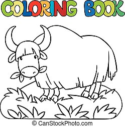 Coloring book of funny wild yak