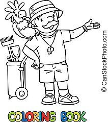 Coloring book of funny zoo keeper with parrot