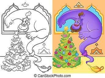 Coloring Book Of Genie Conjured A Christmas Tree
