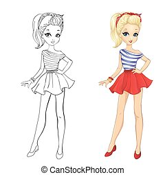 Coloring Book Of Girl In Red Skirt - Coloring book vector...