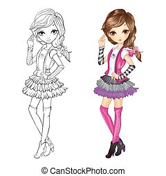Coloring Book Of Girl In Vest - Coloring book vector...