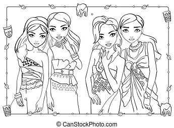 Coloring Book Of Girls In African Style Dresses