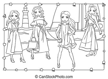 Coloring Book Of Girls On Pier Near Yacht