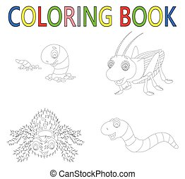 coloring book of insect collection