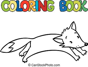 Coloring book of little funny jumping fox