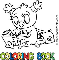 Coloring book of little funny owl with a book